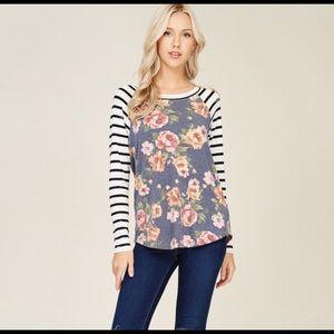 NWT (S-L) Ladies Lorina Floral Striped Raglan Top